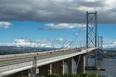 Forth road bridge. From fife to edinburgh in scotland Royalty Free Stock Photography