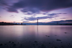 The Forth Road Bridge in Edinburgh Scotland Royalty Free Stock Photo
