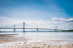 Forth Road Bridge at low tide Stock Images