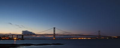 The Forth Road Bridge at Night Edinburgh Scotland Royalty Free Stock Photo
