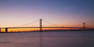 The Forth Road Bridge at Night Edinburgh Scotland Stock Photography