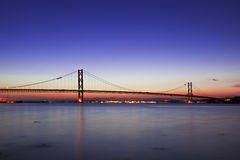The Forth Road Bridge at Night Edinburgh Scotland Royalty Free Stock Photos