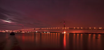 The Forth Road Bridge at Night Edinburgh Scotland Stock Photos