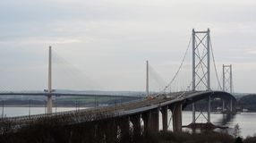 The Forth Road Bridge and Queensferry Crossing Scotland stock photos