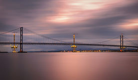 Forth Road Bridge and Queensferry Crossing under construction in Royalty Free Stock Photo