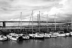The Forth Road Bridge, Queensferry, Scotland. Black & white Royalty Free Stock Photos