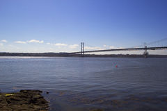 Forth Road Bridge from South Queensferry, Scotland Stock Images