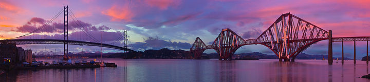 Forth Road & Rail Bridges. This Image of the Forth Road and Rail Bridges is, 10 images joined and made into one stock photo