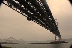 Forth Road and Rail Bridges. The soon to be defunct Forth Road Bridge sits alongside the considerably older Forth Road Bridge Stock Image