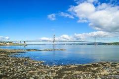 Forth Road suspension bridge on Firth of Forth. Edinburgh, Scotland. Uk Stock Image