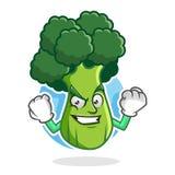 Forti broccoli mascotte, carattere dei broccoli, fumetto dei broccoli Immagini Stock Libere da Diritti