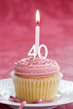 Fortieth birthday cupcake Stock Photography