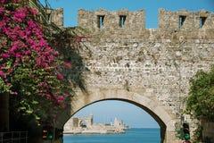 Fortificações da cidade do Rodes Imagens de Stock Royalty Free