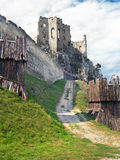 Fortification and chappel of The Castle of Beckov Stock Photography