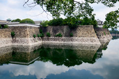 Fortification and ditch water around Osaka palace for protection Royalty Free Stock Image