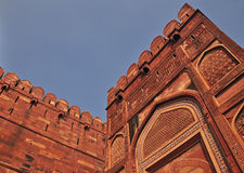 Fortification at Fort Entrance. The Fort at Agra Akbar is among the many Mughal Architectural highlights to be seen in Agra. The richness and artistry of design Stock Image