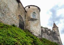 Fortification of medieval Gruyeres castle, Gruyeres, Switzerland, Europe stock photography