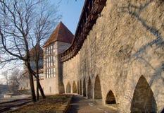Fortification in medieval Tallinn. Capital of Estonia, Baltic Republic Stock Photos