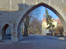 Fortification in medieval Tallinn. Capital of Estonia, Baltic Republic Royalty Free Stock Images