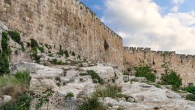 Fortification medieval walls of Jerusalem stock video footage