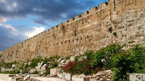 Fortification medieval walls of Jerusalem stock footage