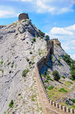 The fortification passing through mountain top Royalty Free Stock Photo
