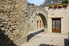 Fortification and porch. In Villefranche-de-Conflent,Roussillon region of France Royalty Free Stock Image