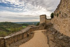 Fortification in Puycelci, a beautiful village in southern Franc Royalty Free Stock Photos