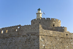 Fortification at Rhodes harbor Royalty Free Stock Photos