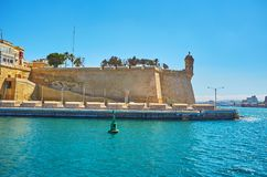 Gardjola lookout tower, Senglea, Malta. Fortification of Senglea L-Isla medieval city with a view on Gardjola guard tower, overlooking Grand Harbour of Valletta Royalty Free Stock Photos