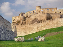 Fortification of Spissky Castle before sundown Royalty Free Stock Photo