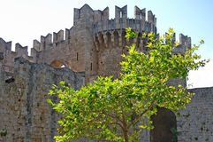 Fortification tower in medieval Old Town of Rhodes with tree Royalty Free Stock Image