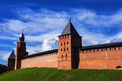 Fortification in Veliky Novgorod, Russia Royalty Free Stock Images