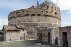 Fortification walkway and main tower at the Angel`s Castle, Rome stock photography