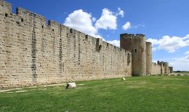 Fortification wall, Aigues-Mortes, France Stock Photos
