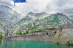 Fortification wall of town Kotor Stock Photos
