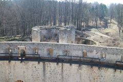 Fortification wall of Trečín castle Royalty Free Stock Photography