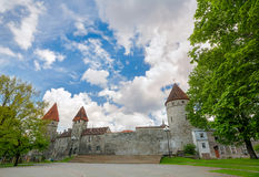 Fortification wall with turrets in old town of Tallinn. Estonia. Fortress wall with turrets in old town of Tallinn. Estonia Royalty Free Stock Photos