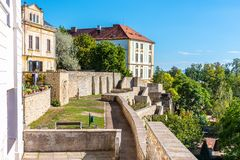 Fortification walls and baileys in historical city centre of Litomerice, Czech Republic stock photos