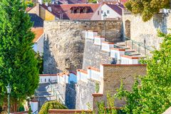 Fortification walls and baileys in historical city centre of Litomerice, Czech Republic royalty free stock photo