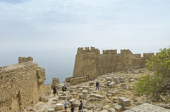 Fortification walls of Lindos Acropolis Royalty Free Stock Image