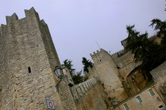 Entrance to the Guaita medieval castle in San Marino royalty free stock image