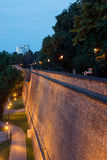 Fortification walls of Vysehrad castle, night view Prague Royalty Free Stock Photography