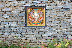 Fortification and window of house in Bhutan Stock Photo