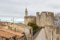 Fortifications of Aigues-Mortes town. France Stock Images