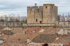 Fortifications of Aigues-Mortes town. France Stock Image