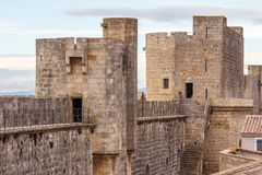 Fortifications of Aigues-Mortes town. France Stock Photography