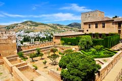 Fortifications of the Alhambra with city views, Granada, Spain Royalty Free Stock Photography