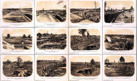 Fortifications, artillery and trenches. From the Siege of Atlanta, 1864 from Atlas to Accompany the Official Records of the Union & Confederate Armies, 1861 Royalty Free Stock Photo