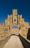 Fortifications and battlements of the medieval city, Rhodes. Rhodes Island, Greece. The famous Knights Grand Master Palace in the Medieval town of rhodes Stock Images